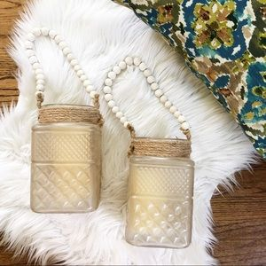 Earthbound Trading Frosted Glass Beaded Lanterns